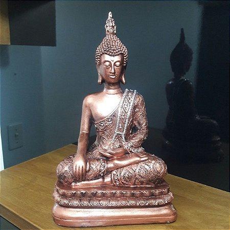 buda tibetano metalização cobre com adorno 35cm