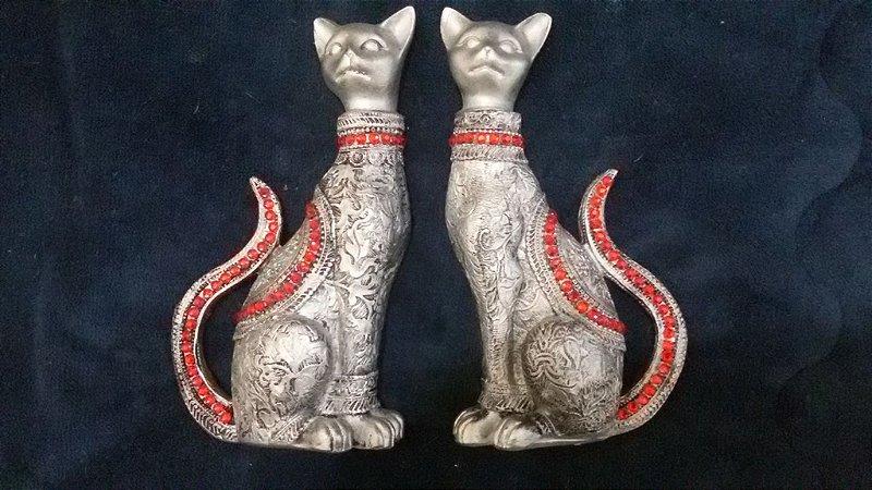 casal de gatos da sorte metalização prata