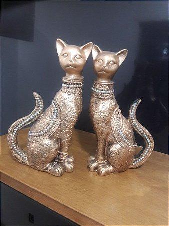 casal de gatos da sorte metalização dourada