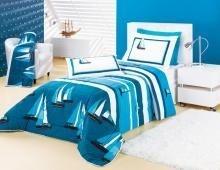 31030ab5be Colcha juvenil azul com barcos e com duas fronhas - Estela Enxovais