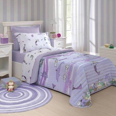 341b44baf8 Colcha infantil de solteiro lilas com desenhos - Estela Enxovais