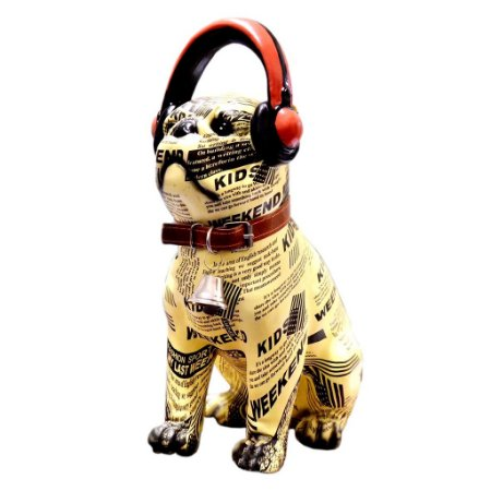 Estatueta Decorativa Bulldog Estampa Jornal (deco-dog500)