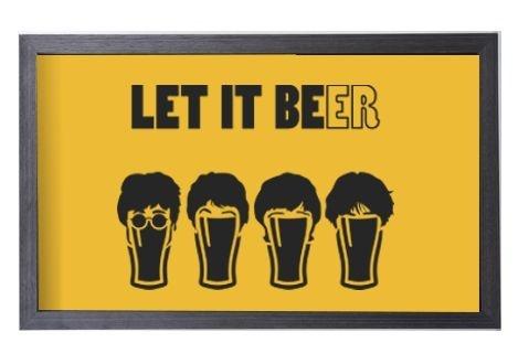Quadro Porta Tampinha Amarelo Grande Estampado Let it Beer (1042)