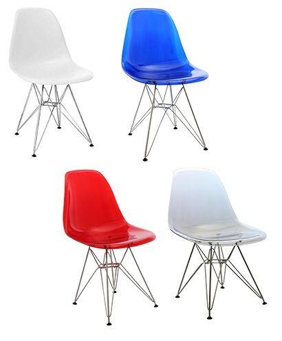 Cadeira Design Charles Eames Eiffel Plástico Base Cromada Dkr Wood Translúcida