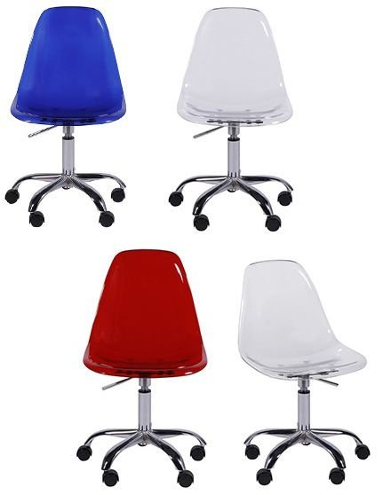 Cadeira Design Charles Eames Eiffel Translúcida Base Giratória Dkr Wood