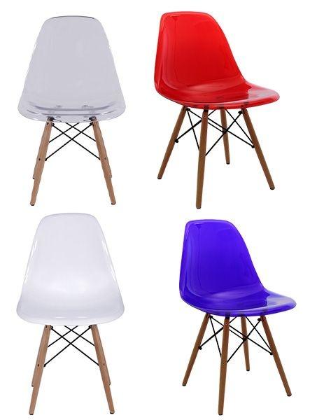 Cadeira Design Charles Eames Eiffel Translúcida Base Madeira Dkr Wood