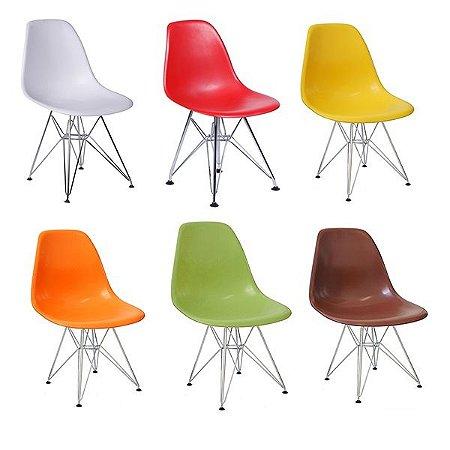 Cadeira Design Charles Eames Eiffel Plástico Base Cromada Dkr Wood