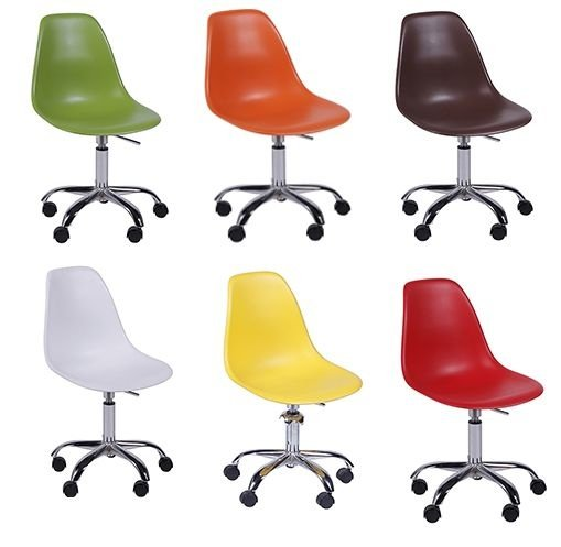 Cadeira Design Charles Eames Eiffel Plástico Base Giratória Dkr Wood