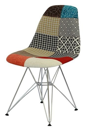 Cadeira Eiffel Estampa Patchwork Base Cromada