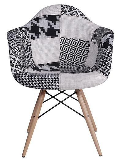 Cadeira Eiffel com Braço Base Madeira Estampa Patchwork Mix Black