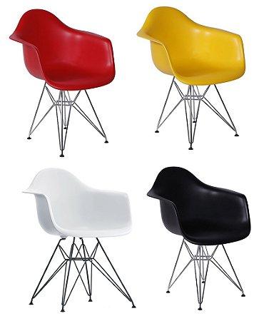 Cadeira Eiffel Plástico com Braço Base Cromada