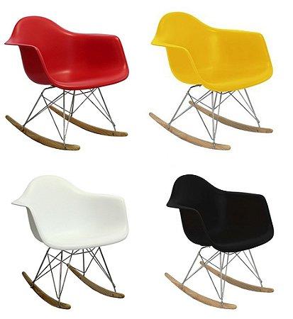 Cadeira Design Charles Eames Eiffel de Balanço Plástico com Braço Base  Cromada