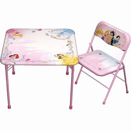 Mesa De Atividades Recreativa Com Cadeira Princesas Disney