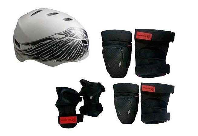 Kit Proteção Com Capacete Sandro Dias Cinza