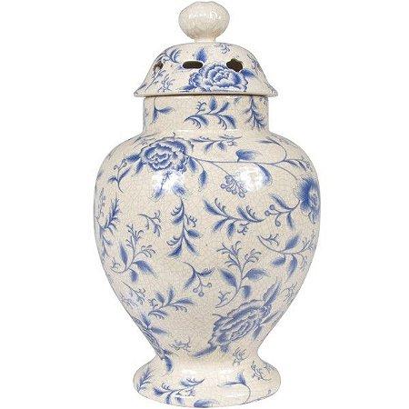 Pote Decorativo Floral 40cm Em Cerâmica (TG0129)