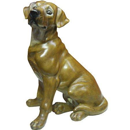 Miniatura Cachorro Marrom Sentado Em Porcelana Rs-45