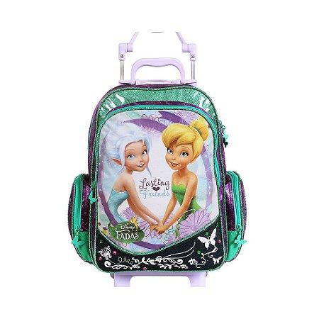 Mochila de Rodinhas Mochilete Escolar Disney Fadas Tinkerbell Sininho Dermiwil (60184)