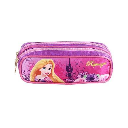 Estojo Soft Rapunzel 2 Divisórias Disney Dermiwil Rosa 60424