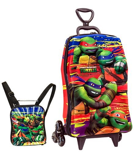 Mochila de Rodinhas Mochilete 3D Escolar + Lancheira Nickelodeon Tartarugas Ninjas Mutantes