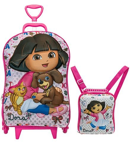 Mochila de Rodinhas Mochilete 3D Escolar + Lancheira Nickelodeon Dora Aventureira Pets
