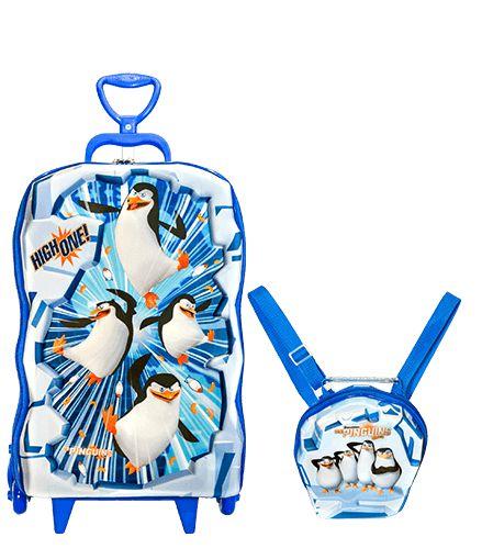 Mochila De Rodinhas + Lancheira Pinguins De Madagascar