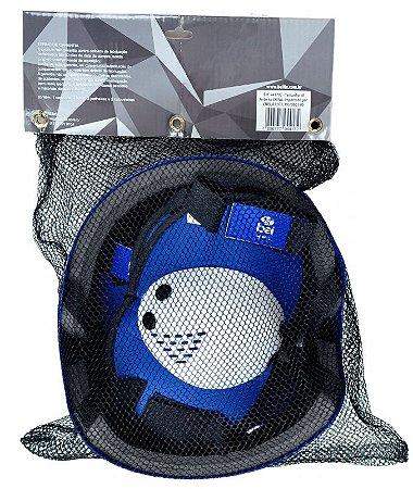Kit Premium Capacete Joelheira Cotoveleira Azul M