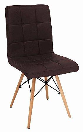 Cadeira Eiffel Charles Eames Gomos Pu Marrom Café