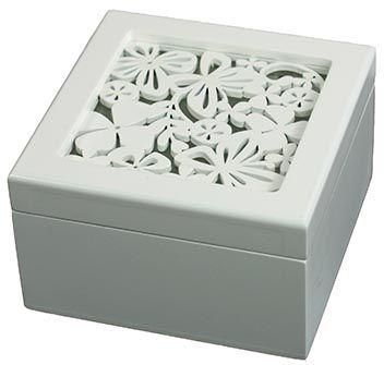 Caixa Porta Jóias Em Madeira Branca Pequena