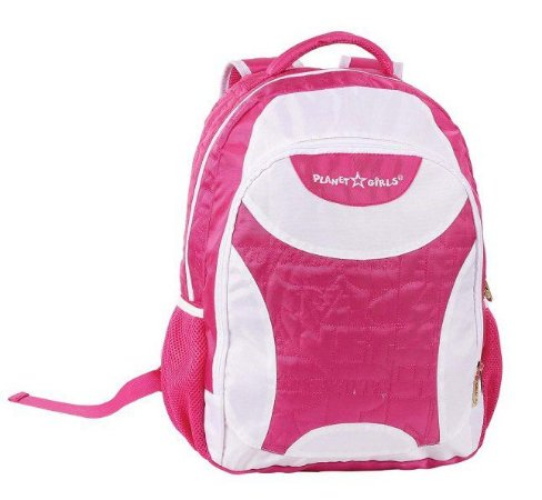 Mochila De Costas Planet Girls Rosa E Branca Escolar (51131)