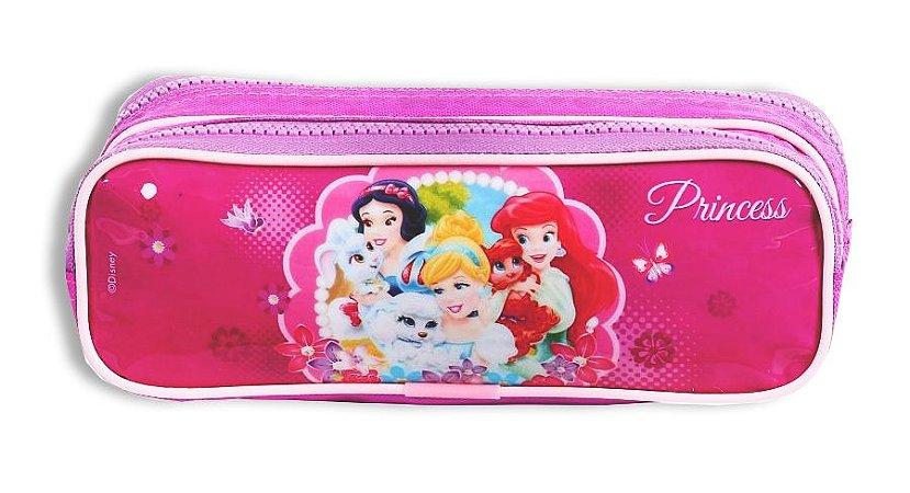 Estojo Soft Princesas 2 Divisórias Rosa Escolar (60419)