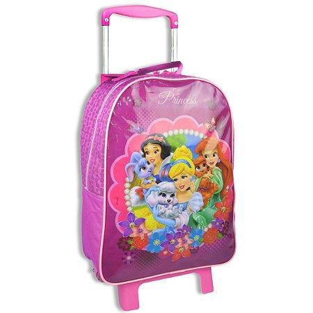 Mochila De Rodinhas Princesas Da Disney Rosa Escolar (60423)