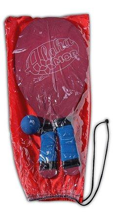 Kit Frescobol Polipropileno Com 2 Raquetes E 1 Bola Vermelho