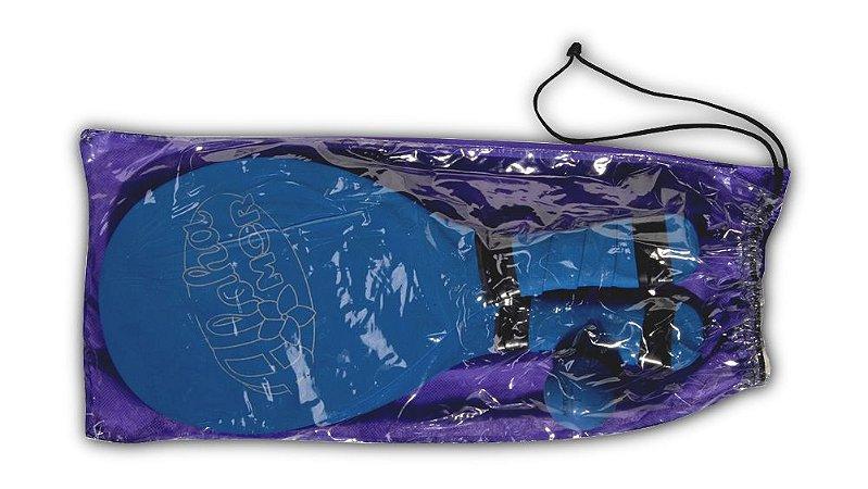 Kit Frescobol Polipropileno Com 2 Raquetes E 1 Bola Azul Mor