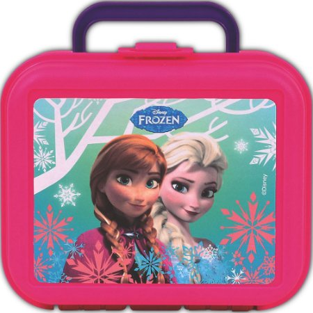 Lancheira Injetada Frozen Rosa Infantil Escolar (37111)
