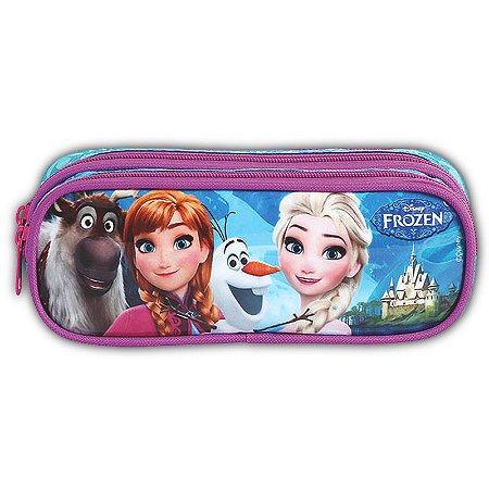 Estojo Frozen Duas Divisórias Azul E Rosa Escolar Infantil