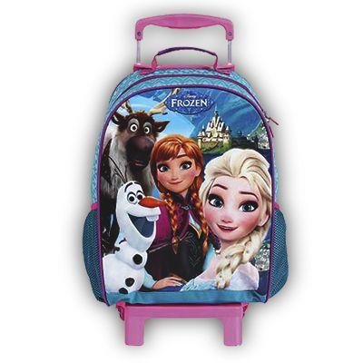Mochila de Rodinhas Mochilete Escolar Disney Frozen Azul (37123)