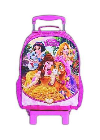 Mochila De Rodinhas Princesas Pets Rosa Escolar (37240)