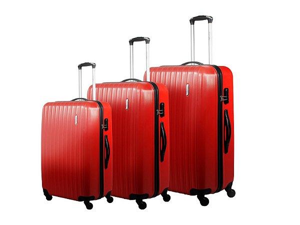 Conjunto Malas De Viagem P/m/g Em Abs Vermelho (cjmbnj210v)