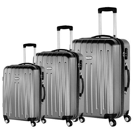 Conjunto Malas de Viagem P/M/G Prata ABS Travel Max (MB-NJ313)