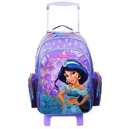 Mochila de Rodinhas Mochilete Escolar Disney Princesas Jasmine Roxa (49041)