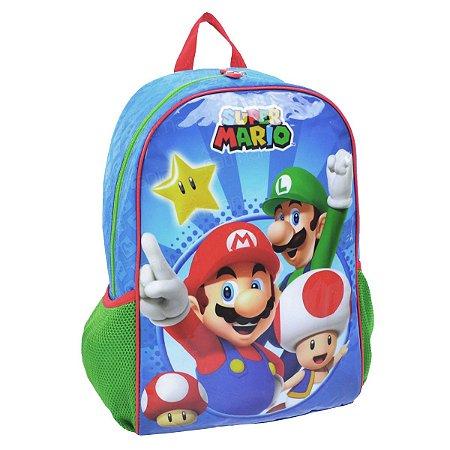 Mochila De Costas Mario Bros Nintendo Azul Escolar (49067)