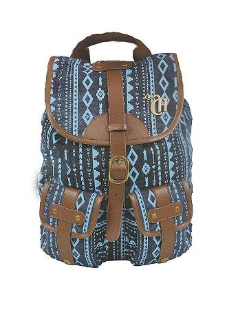 Mochila De Costas Capricho Etnic Blue Feminina Juvenil 48909