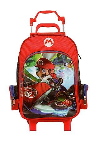 Mochila De Rodinhas Mario Bros Nintendo Escolar Vermelha 037