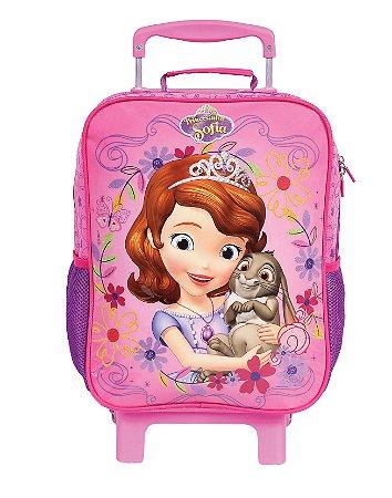 Mochila de Rodinhas Mochilete Escolar Grande Dermiwil Disney Princesinha Sofia Rosa (49090)