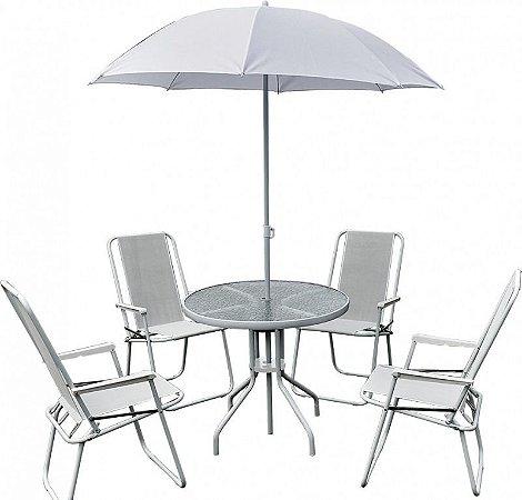 Conjunto Leblon 4 Cadeiras Textilene + Mesa Vidro + Ombrellone- Branco (88700)