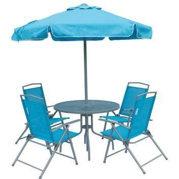 Conjunto Miami 4 Cadeiras Textileno + Mesa + Guarda Sol Azul (85300)