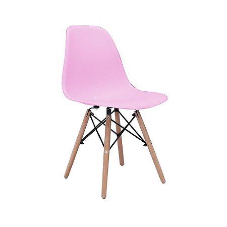 Cadeira Design Charles Eames Eiffel Rosa Plástico Base Madeira