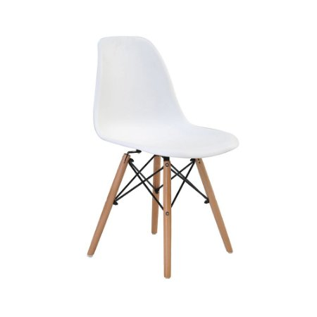 Cadeira Design Charles Eames Eiffel Branca Plástico Base Madeira