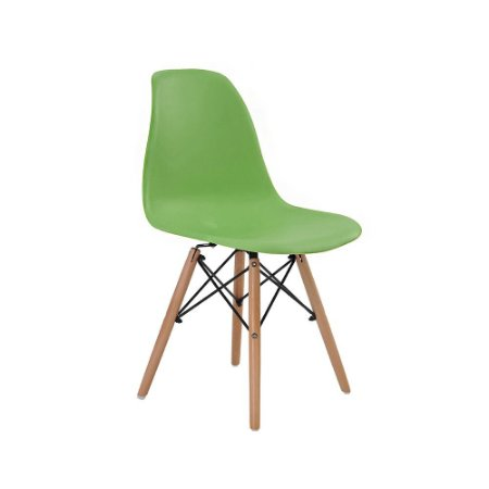 Cadeira Design Charles Eames Eiffel Verde Plastico Base Madeira