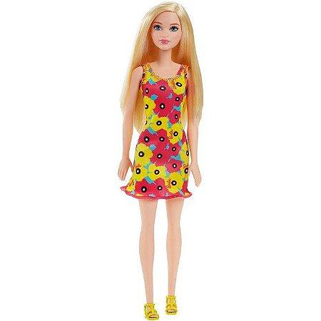 Boneca Barbie Fashion Vestido Floral  Amarelo/Pink